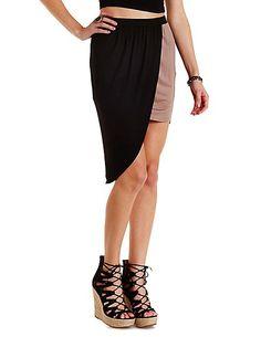 Color Block Asymmetrical Tulip Skirt: Charlotte Russe