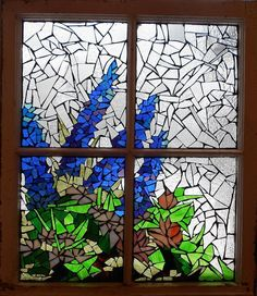 Mosaic Stained Glass - Delphiniums In The Window Glass Art