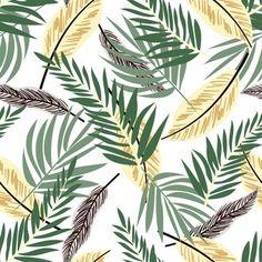 Patrón sin fisuras con coloridas plantas tropicales Plantar, Leaf Prints, Print Patterns, Plant Leaves, Graphics, Wallpaper, Design, Tropical Plants, Vector Graphics