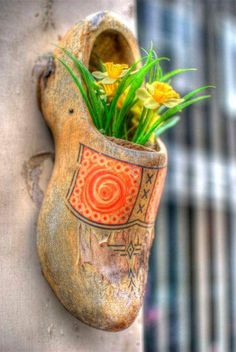 Painted Wooden Shoe with Daffodils