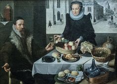 """""""Double Portrait of an Elderly Couple,"""" Georg Flegel and Lucas van Valckenborch, ca. 1590's. - Awesome copper basin and other table and household accoutrements."""