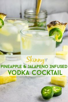 This skinny summer cocktail is sweetened slightly with pure pineapple juice and has a nice kick with a homemade jalapeño infused vodka. Simple ingredients and delicious! via Cocktails Skinny Pineapple and Jalapeno Infused Vodka Cocktail Summer Drinks, Cocktail Drinks, Fun Drinks, Cocktail Recipes, Skinny Alcoholic Drinks, Margarita Recipes, Simple Vodka Cocktails, Beverages, Spicy Margarita Recipe