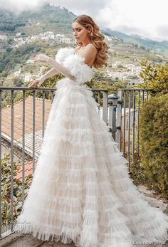 Wedding Dress Inspiration - Katherine Joyce - MODwedding - Courtesy of Katherine Joyce Wedding Dresses from Victoria Soprano group; Western Wedding Dresses, Colored Wedding Dresses, Dream Wedding Dresses, Bridal Dresses, Fluffy Wedding Dress, Dresses Elegant, Beautiful Dresses, Dress Vestidos, Bride Look