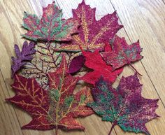 Machine embroidered leaves by Anne Solomon