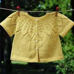 Layette gilet coton 3-6 mois jaune zeste neuf tricotée main