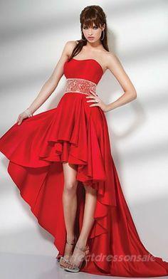 Red Strapless Prom Dresses Short Satin Prom Dresses
