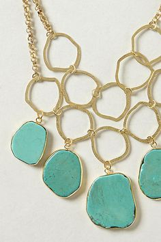 Hammered Turquoise Bib Necklace