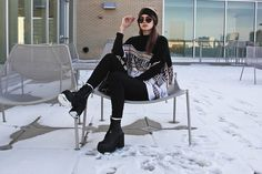 Get this look: http://lb.nu/look/8025678  More looks by Waters Riley: http://lb.nu/streetfem  Items in this look:  Sammydress Sweater, Unif Boots, Elizabeth And James Sunglasses   #casual #chic #edgy