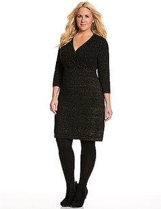 With a soft feel, subtle sparkle, and chic mix of textures, there's nothing not to love about this season-essential sweater dress. Plus size fashion.  lanebryant.com