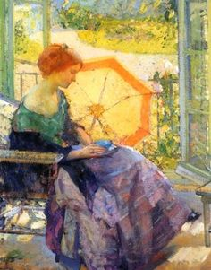 Women with Umbrella by Richard Emil Miller (1875-1943) American Impressionist Painter