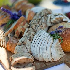 Fresh-baked and sliced bread board at a catered event at the inns