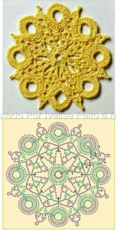 Crochet motifs round circle unit pattern