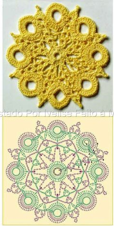 Crochet motifs round circle unit pattern