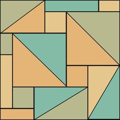 The original pattern consists of squares only. In this modified form I have drawn in the diagonal for the larger ones.