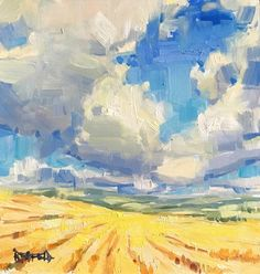"""Daily Paintworks - """"Oregon Wheatfields"""" - Original Fine Art for Sale - © Cathleen Rehfeld Abstract Landscape Painting, Landscape Art, Landscape Paintings, Oil Paintings, Abstract Oil, Canvas Artwork, Oil Painting On Canvas, Wood Canvas, Sky Art"""