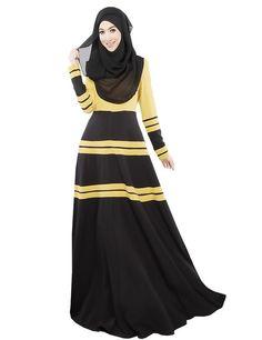Ashir Aley Womans Long Classic Stripes Muslim Dress Caftan Abayas (M,Yellow) #hijab #islam #fashion #trending