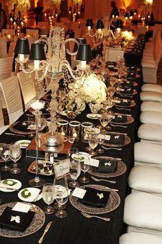 silver and black wedding reception