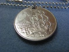 Endeavour New Zealand Coin Necklace by BeadToLive on Etsy, $18.00