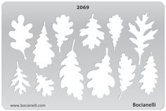 Plastic Stencil Template for Graphical Design Drawing Drafting Metal Clay Jewellery Jewelry Making - Oak Tree Leaves Shape Templates, Leaf Template, Stencil Templates, Stencil Patterns, Stencil Designs, Designs To Draw, Paper Art, Paper Crafts, Jewelry Design Drawing