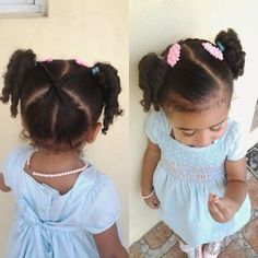 Little girls hair style Lil Girl Hairstyles, Childrens Hairstyles, Natural Hairstyles For Kids, Princess Hairstyles, Natural Hair Tips, Pretty Hairstyles, Natural Hair Styles, Braids For Kids, Girls Braids