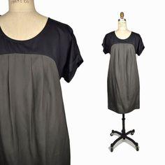 SUNSHINE & SHADOW Silk Dress in Black & Olive Green - 2 #SunshineShadow #Shift #LittleBlackDress