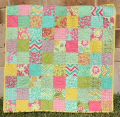 Spring House Baby Girl Quilt Pink Green Teal Aqua Yellow Blanket. Love this one @Cheryl Clary