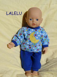 """Puppenkleidung - """"LaLeLu"""" Schlafanzug 2tlg Set Gr.30-35cm - ein Designerstück…"""