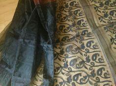 Black silk by cotton Dhakai Jamdani saree
