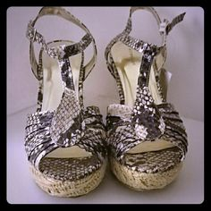 New T-strap Snakeskin print wedges Pair of Snakeskin print T-strap wedges. Completely new with tags. Size 9. Shoes Wedges