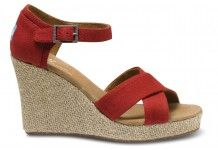 Red Canvas Women's Strappy Wedges