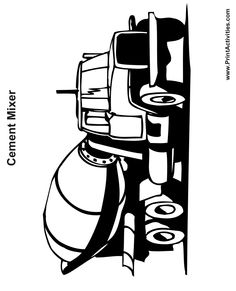 Truck Coloring Page of a cement mixing truck.