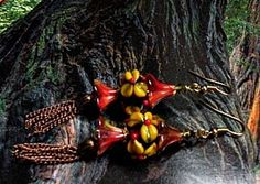 "Glass Handmade Earrings ""Forest Flowers"" Artisan Handcrafted Beads  http://www.bonanza.com/listings/442631413"