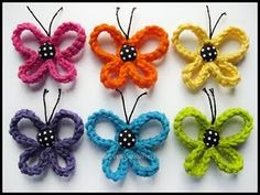 This listing is for a PDF pattern for a crochet loopy butterfly. The butterfly measures approx. 2 ½ inches across and 2 inches tall but can varyLoopy Butterfly Applique pattern by Patricia EggenYou have to see Loopy Butterfly on Craftsy! Crochet Crafts, Yarn Crafts, Crochet Projects, Diy Crafts, Crochet Butterfly, Crochet Flowers, Crochet Ladybug, Butterfly Hair, Butterfly Pattern