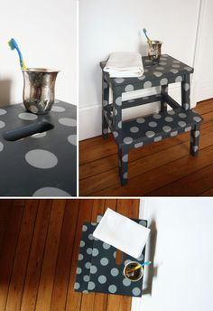 Ikea stool.. will do this for a bathroom stool for Brennan