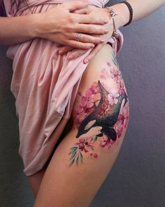 Orca Whale and Pink Flowers Tattoo by yershova_anna