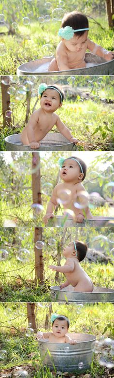 Outdoor Bubble Bath Photos 9 Month Baby Photography