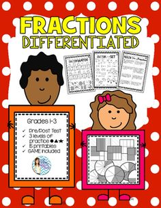 Fractions DIFFERENTIATED Leveled Printables by Live Laugh LOVE to Teach | Teachers Pay Teachers (scheduled via http://www.tailwindapp.com?utm_source=pinterest&utm_medium=twpin&utm_content=post48778358&utm_campaign=scheduler_attribution)