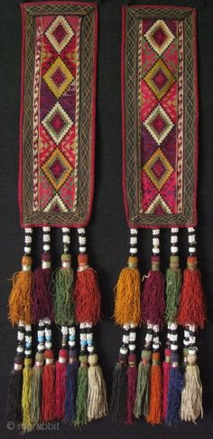 "Lakai pair wall hangings. Cross stitch silk embroidery. Long silk tassels with glass beads. Size: 5"" x 14"" x 27"" (12cm x 35cm with tassels 68cm long)"