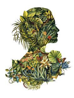 13 x 19 Fauna & Flora Cameo Print by liseljane on Etsy