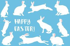 Easter set with rabbits by Orangepencil on @creativemarket