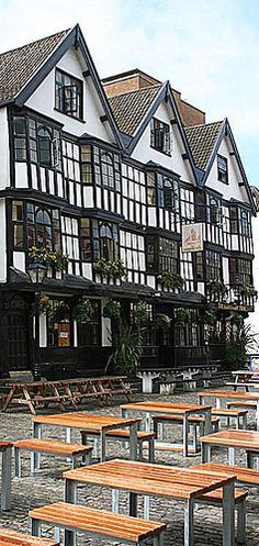 Llandoger Trow pub in Bristol, England. Named after a type of Welsh sailing barge and built in 1664 is the pub where Daniel Defoe met Alexander Selkirk on whom he based Robinson Crusoe and it was thought to be the model for the Admiral Benbow in Treasure Island