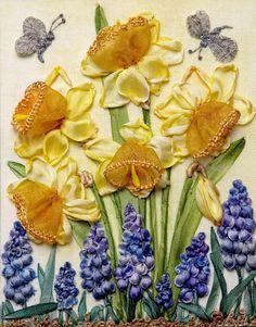 Wonderful Ribbon Embroidery Flowers by Hand Ideas. Enchanting Ribbon Embroidery Flowers by Hand Ideas. Silk Ribbon Embroidery, Embroidery Stitches, Embroidery Patterns, Butterfly Embroidery, Flower Cart, Ribbon Art, Passementerie, Flower Fairies, Daffodils