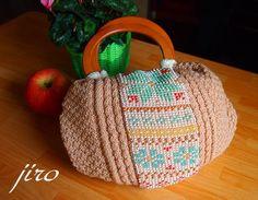 ビーズ編みのグラニーバッグ・・・棒針編み