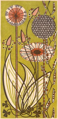 Dandelions - linocut print by Angie Lewin - printmaker
