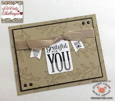 SUO Challenge 109 - Thanks - Card created by Stamp Crab using Stampin' Up! supplies including Crumb Cake Seam Binding Ribbon (122332), Neutrals Candy Dots (130934), Stampin' Dimensionals (104430). CARDSTOCK: Crumb Cake (120953), Early Espresso (119686), Whisper White (100730). STAMP SETS: Choose Happiness (134198), Merry Everything (135071), Banner Banter (134060). PUNCHES: Note Tag (135860), Banner (133519). INKS: Crumb Cake (126975), Early Espresso (126974).