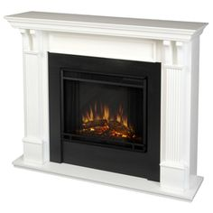 Real Flame Ashley 48-in W 4780-BTU White Wood LED Electric Fireplace with Thermostat and Remote Control