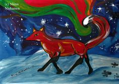 Birth of lights Fire Fox ACEO Art Print Animal Art Print Acrylic Painting Fox ACEO Acrylic Painting Art Print Fox illustration Watercolor Animals, Watercolor Paper, Fox Illustration, Art Illustrations, Artist Card, Mythology, Fantasy Art, Moose Art, Art Prints