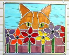 Ginger Cat Peeking Through Flowers Stained Glass Panel