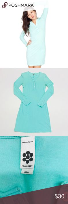 American Apparel Jersey Henley Dress This henley dress is made of super soft jersey material! It can be dressed up or down. Perfect with a pair of thigh high boots, heels, Uggs, or sneakers! Its color is mint green. American Apparel Dresses Long Sleeve
