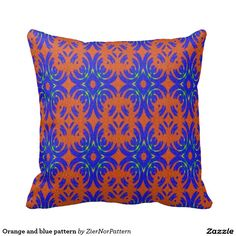 Orange and blue pattern pillows